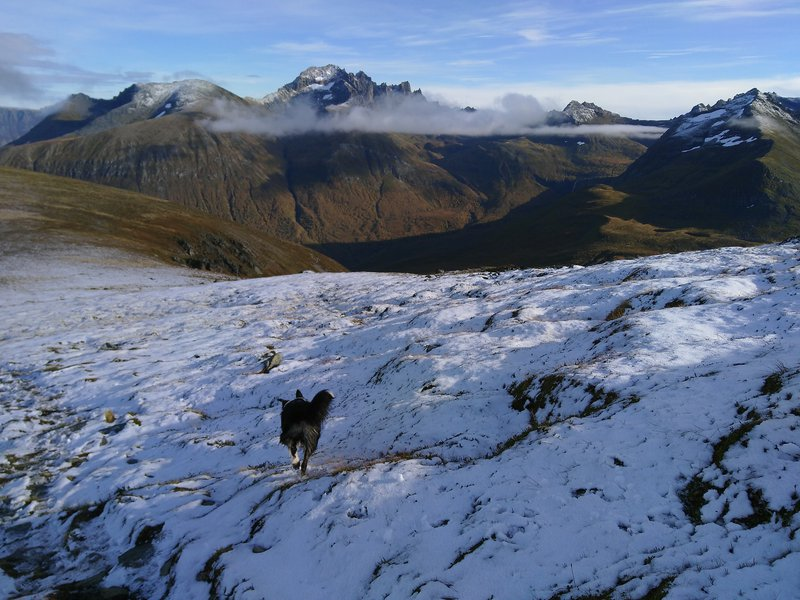 Above the snowline and opposite the clouds