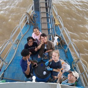 Collaborating to sample plastics in the Mekong River
