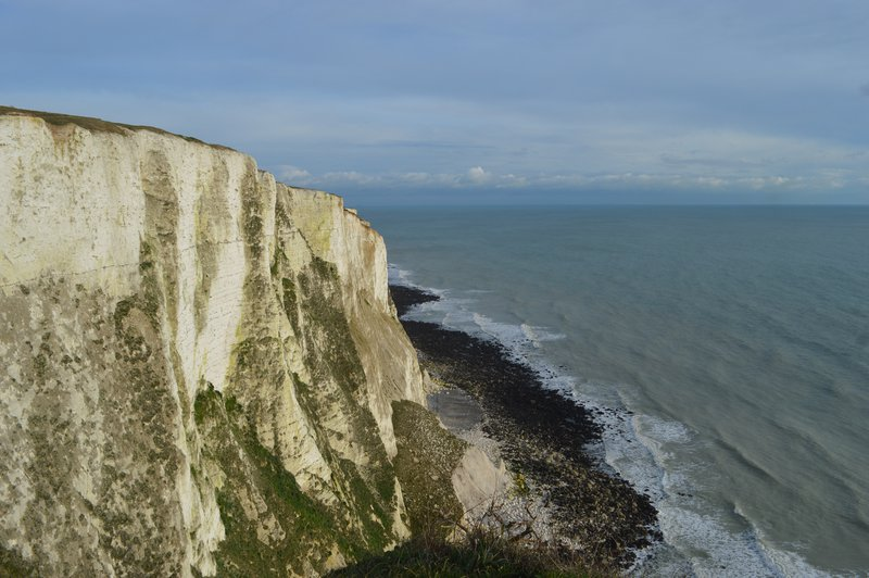 White Cliffs of Dover meeting the Strait of Dover.